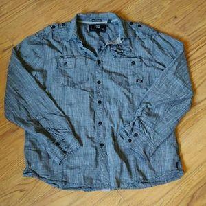EUC textured gray l/ button up shirt
